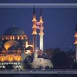 Suleiman Mosque in Istanbul   Turkey (night)